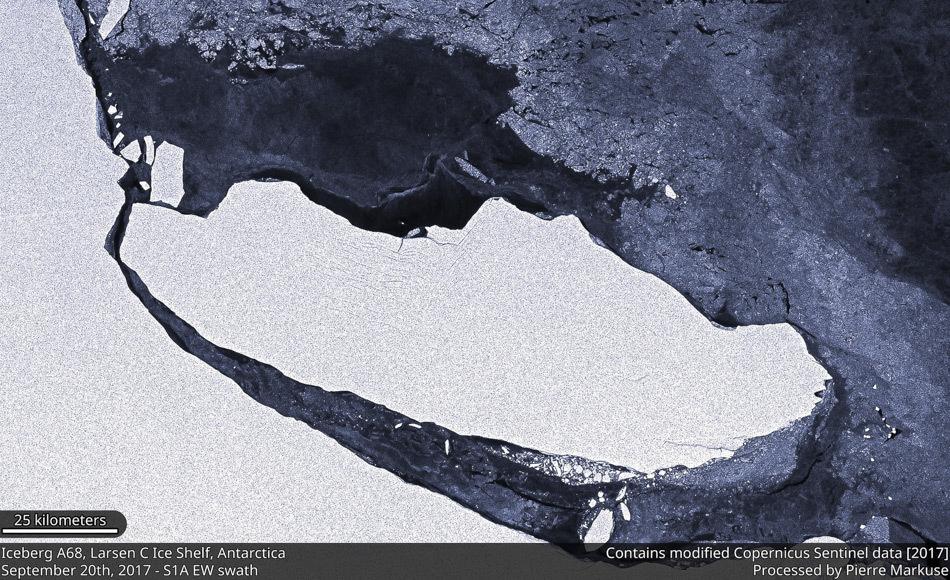 Während der Eisberg A68 nach Norden treibt legt er eine Fläche von mehr als 5.800 km2 Meeresboden frei, die während der vergangenen 120000 Jahre vom Eis bedeckt war und nun plötzlich den Bedingungen des offenen Meeres ausgesetzt ist. (Bild: Pierre Markuse)