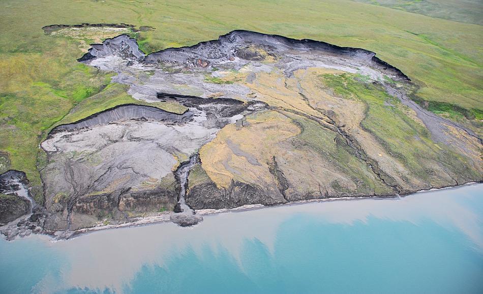 Erodierende Steilküste der arktischen Permafrost-Insel Herschel Island, Yukon Kanada. Überall dort, wo das Eis im Boden taut, rutschen Grassoden, Humusschicht und Lockergestein als Schlammlawine Richtung Meer. Foto: Michael Krautblatter