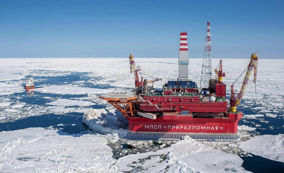 RUBIN ist ein erfahrenes Designbüro für arktische Regionen. Neben den russischen Typhoonklasse-U-Boote, war das Büro auch für die Ölplattform Prirazlomnoye verantwortlich, die eisverstärkt in der russischen Arktis eingesetzt wird. Bild: www.offshoreenergytoday.com