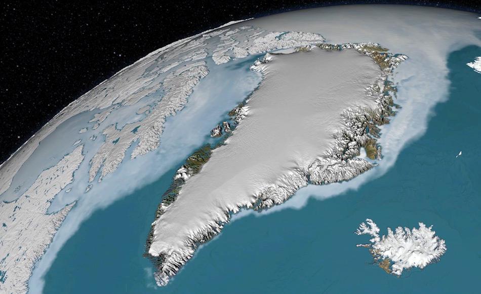 Der grönländische Eisschild ist der zweitgrösste der Welt. Nur kleine Teile entlang der grönländischen Küste sind eisfrei und waren für militärische Zwecke nutzbar. Bild: NASA