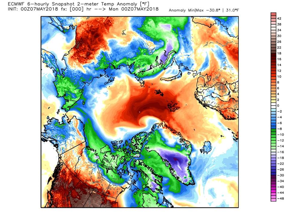 Die Karte der Temperaturanomalien zeigt einen klaren Warmluftvorstoss in die Region des Nordpols von Europa aus. Die kalte Luft, die normalerweise über der Region liegt, wurde zur Seite gedrückt und liegt über der russischen Nordküste und der Mitte Grönlands. Die Konsequenzen dieses Einbruches werden sich erst später zeigen. Karte: WeatherBell.com