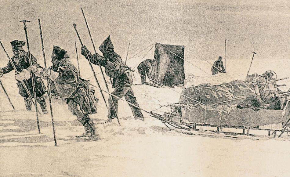 Fridtjof Nansen und sein 5-köpfiges Team durchquerten 1888 in 49 Tagen Grönland von Ost nach West. Die ursprüngliche 600 km lange Route musste Nansen aufgrund vorheriger Probleme und verspätetem Start nach Süden verlegen. Doch auch während der Expedition hatten Nansen und seine Männer mit vielen widrigen Bedingungen zu kämpfen. Bild: Oustland Polar Exploration