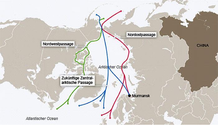 Bis in einigen Jahren dürften zumindest im eisfreien Sommer die Seewege durch die Arktis die Distanzen zwischen China und Europa, bzw. Amerika bis zu 6.400 Kilometer verringern.