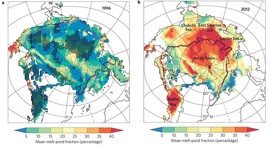 Die Karten zeigen das Ausmass der Schmelzwasserflächen für die Jahre 1996 (grösste Eisausdehnung) und 2012 (kleinste Eisausdehnung). Je roter, desto grösser der Prozentsatz der geschmolzenen Fläche.