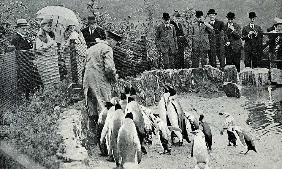 1934 - Königlicher Besuch im Zoo von Edinburgh durch King George V and Queen Mary.